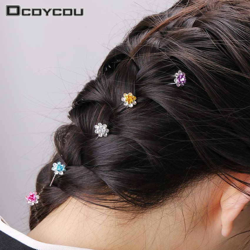 20 PCS/ Lot Women Wedding Bridal Clear Rhinestone Rose Flower Hair Pin Clips Hair Accessories Jewelry Barrettes Headwear women girl bohemia bridal camellias hairband combs barrette wedding decoration hair accessories beach headwear