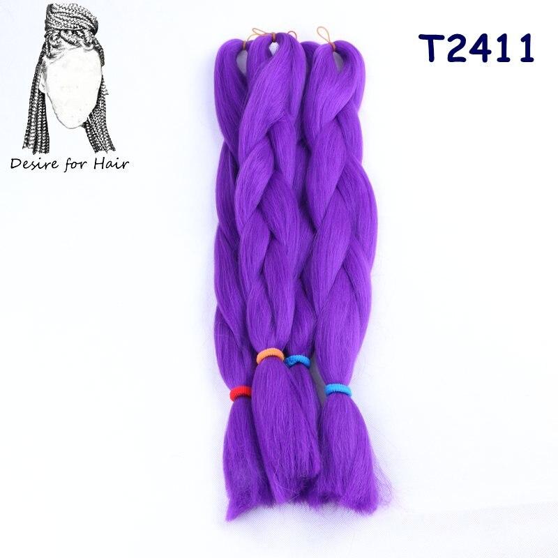 Önskning för hår 5packs 24inch 80g 90colors värmebeständig - Syntetiskt hår - Foto 5