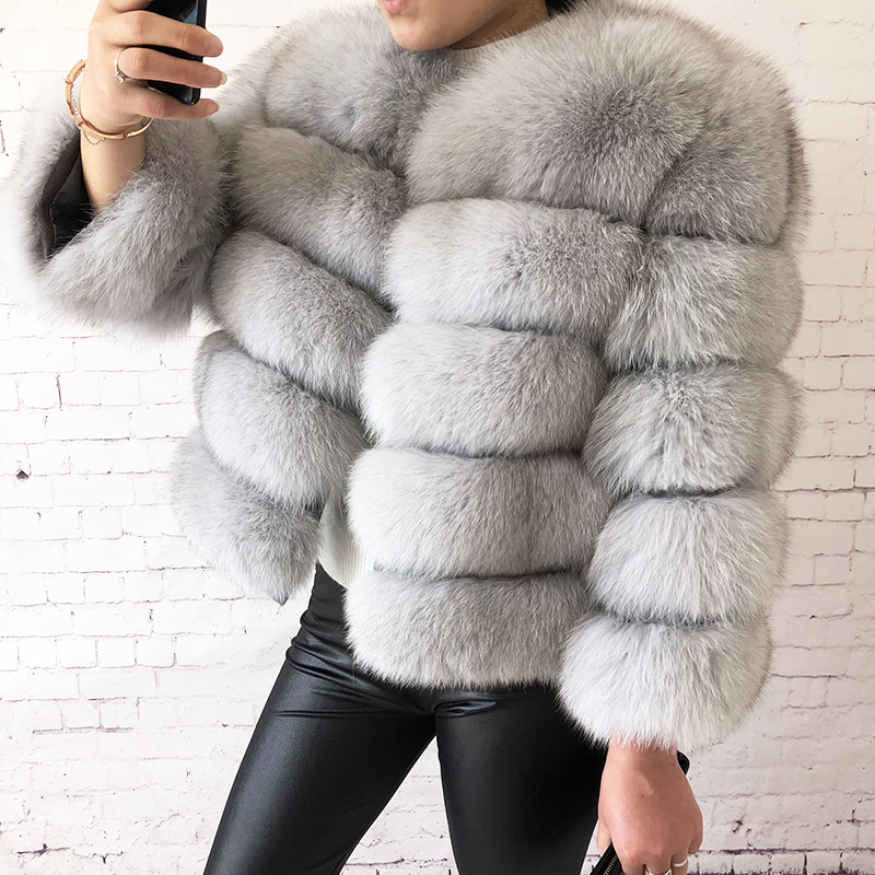 2019 new style real fur coat 100% natural fur jacket female winter warm leather fox fur coat high quality fur vest Free shipping 109