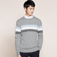 Autumn Winter New Hot Sale Jumpers Men Plus Size 3XL 2019 Pullovers Sweaters Basic O Neck Striped Sweater Knitted Tops Patchwork