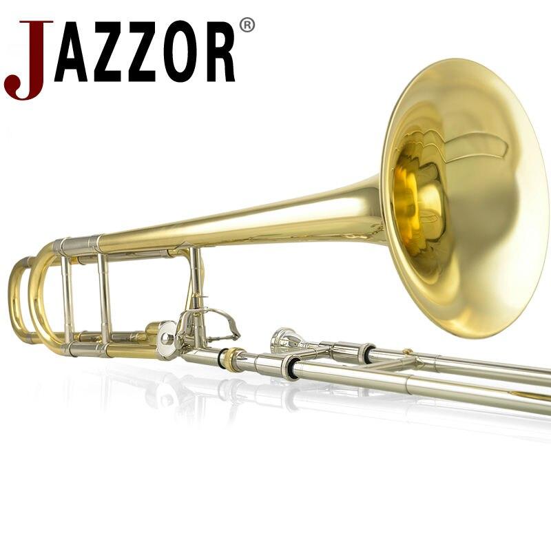 JAZZOR JBSL-801 ténor trombone B/F plat professionnel blanc cuivre trombone avec l'embout avec étui, gants, vent en laiton doré