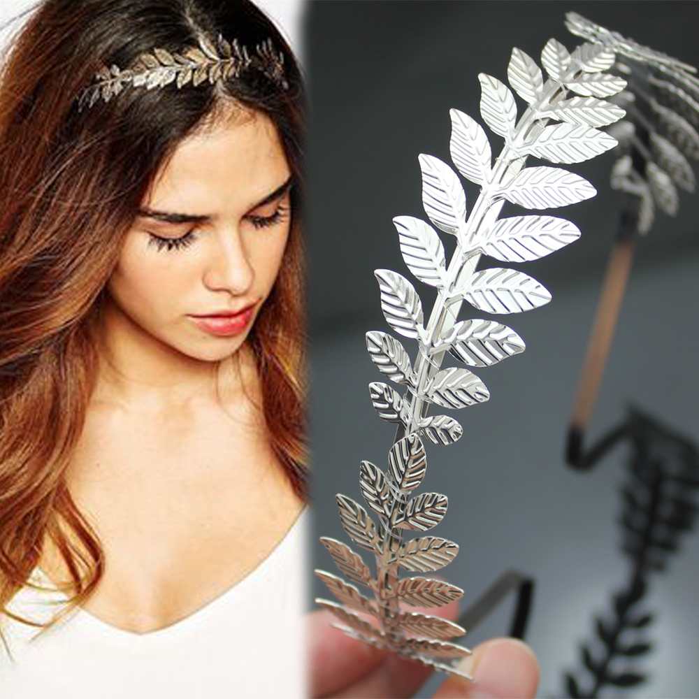 Roman Goddess Leaf Branch Dainty Hair Crown Tiara de noiva Head Dress Boho Alice Band Bridal Bride Wedding Jewelry leaf print twisted hair band