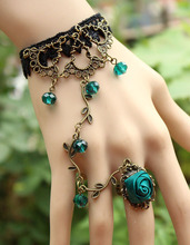 Fashion jewelry-Blackish green Retro flower cane temperament of crystal lolita lace bracelet with ring one opisthenar jewelry