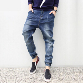 ФОТО Fashion 2015 New Plus Size Harem jeans Men Taper Jeans Men Joggers Casual Hip hop Elastic Beam Legging Pants Pencil Jeans Calca