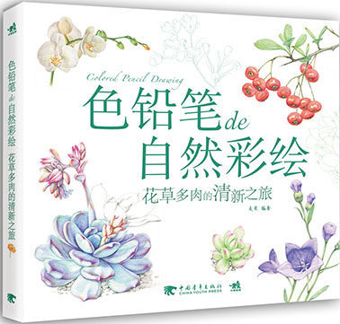 Used Chinese Color Pencil Drawing Nature Plant Flower Succulents Art Painting Book