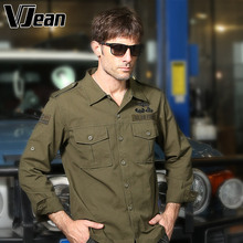 V JEAN Men's Military Style Long Sleeve Shirt with Armband 5A520
