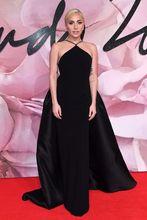 2017 Sexy inspiriert von Lady Gaga Roter Teppich-kleid Abendkleid Meerjungfrau Schwarz Abnehmbare Zug Partei Abendkleid