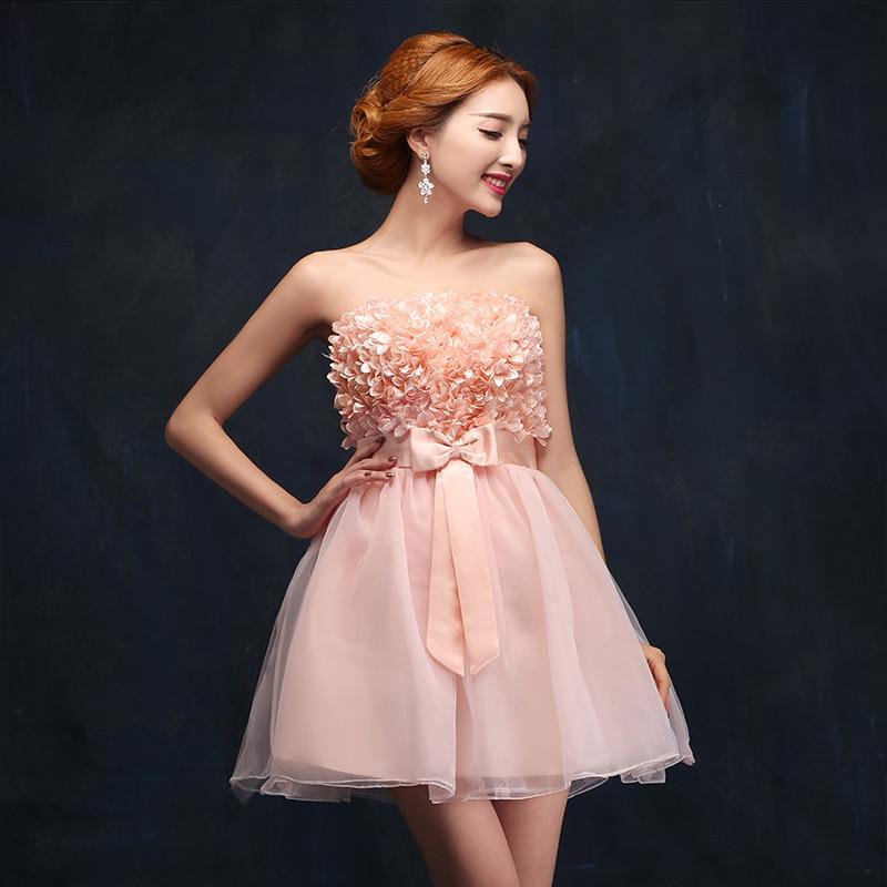 Flower Pink Short Prom Dresses Beautiful Girl Women