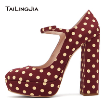Hot Retro Red Women Wave Point Buckle Round Toe Platform Pumps Ladies Retro Cute Blue Block Heel Party  Large Size Free Shipping retro blue