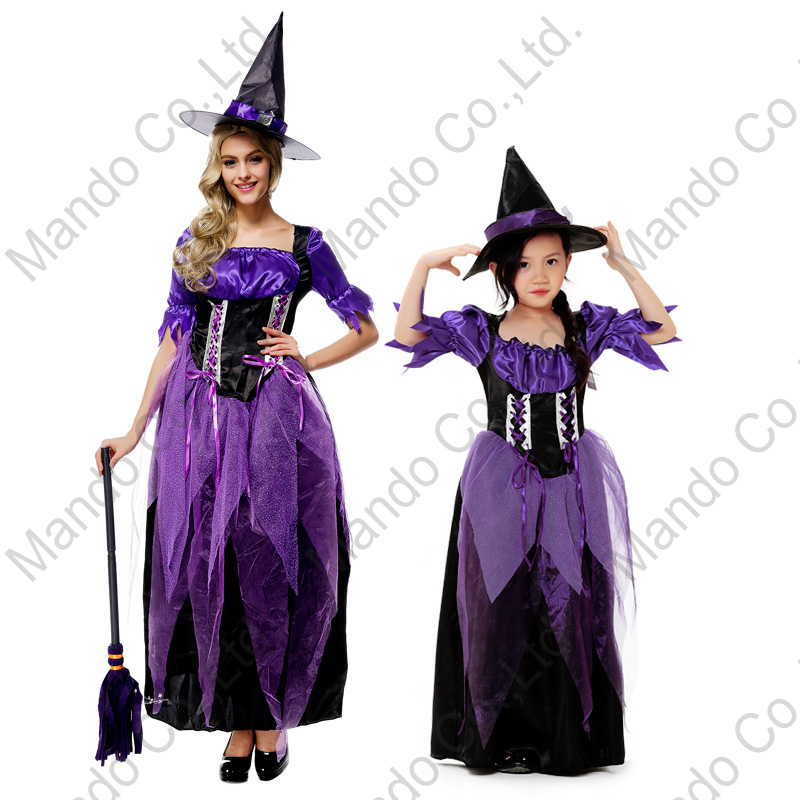 Women girls purple witch Queen Fancy Dress Cosplay Costume Halloween Outfit