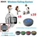 Wireless sistema de llamada del camarero bolera equipo 6 reloj K-300plus con 10 unids zumbador botón cambio idioma
