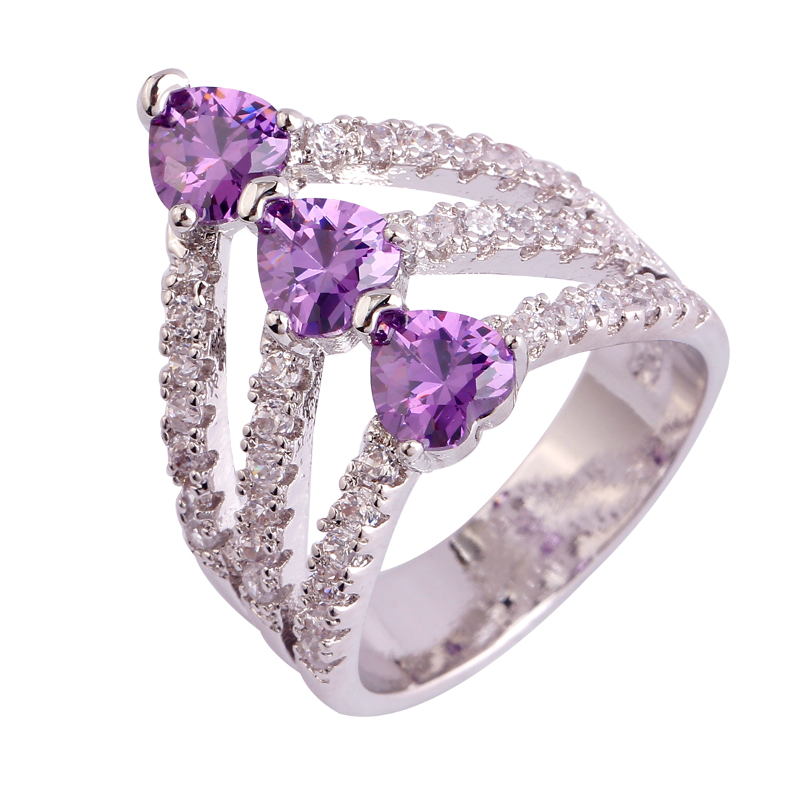 Wholesale Fashion Amethyst 18K White Gold Plated Silver Ring Size 6 7 8 9 10 11 Women Rings Gems Jewelry Free Shipping