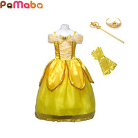 PaMaBa Cartoon Beauty And Beast Princess Belle Cosplay Costume Little Girl S Princess Dress Ruched Mesh