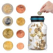 Moneybox для копилка для денег, цифровой счет с ЖК-дисплеем, прозрачный контейнер для хранения монет, коробка для Евро GBP, коробка для наличных, копилка, белый