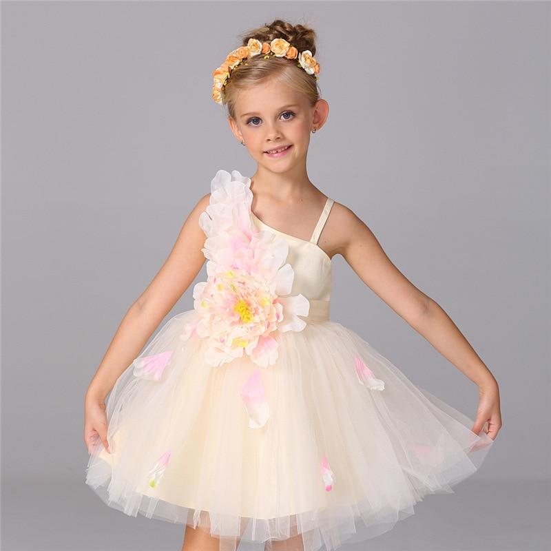 2016 Summer Birthday Christmas Wedding Flower Girl Dresses Champagne White Pink Red Kids Baby Girls Princess