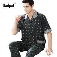 Gadpat Pajama Sets Men Spring 2017 Summer Male Sleepwear Short Sleeve Length Pants Cotton Cardigan Lounge
