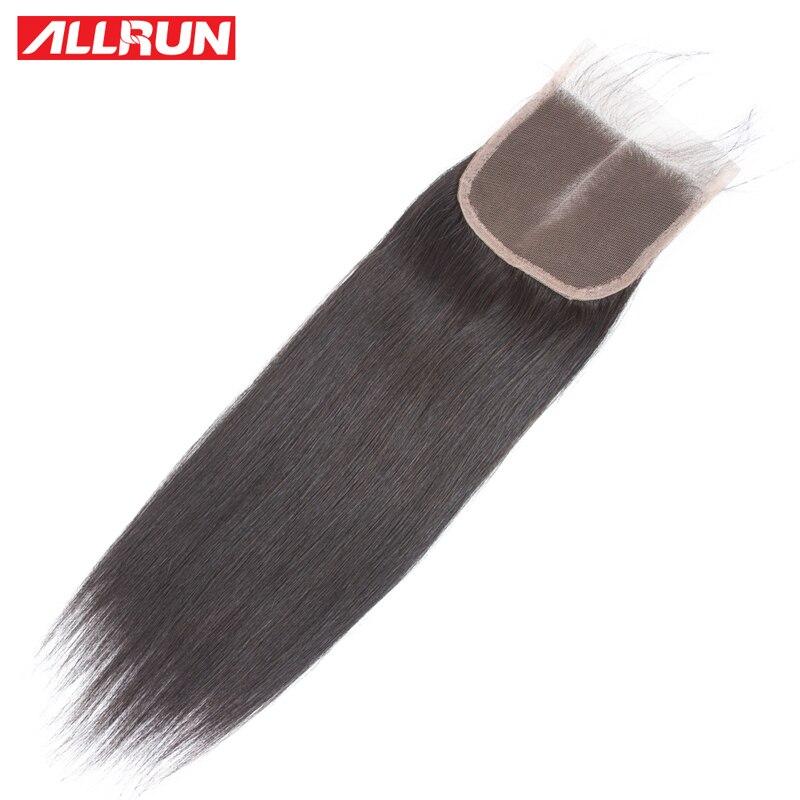 ALLRUN 4 * 4 Rett brasiliansk hårspetslåsning Olika storlekar 10 - Mänskligt hår (svart) - Foto 2