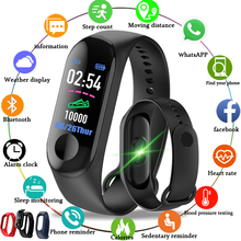 2019 New Men Smart Band Fitness Tracker Heart Rate Blood Pressure Sport Bracelet Smart Watch LED color touch screen+Box M3 Color