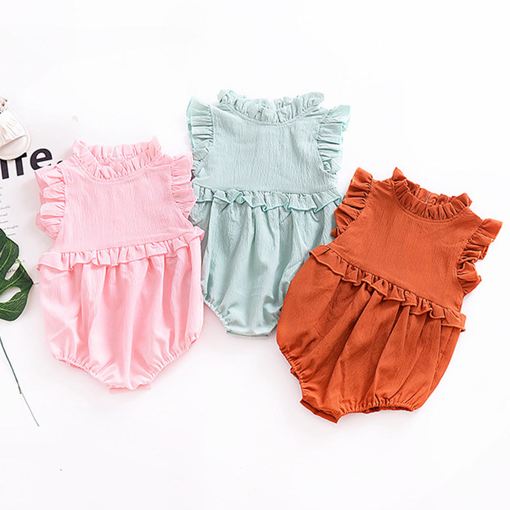 Ruffles Sleeveless Newborn Baby Romper Girl Swimsuit Toddler Lotus Leaf 1st Birthday Infant Jumpsuit Newborns Baby Girl Clothing emmababy summer newborn infant baby girl ruffles sleeveless romper flamingo jumpsuit sunsuit clothes outfits baby clothing