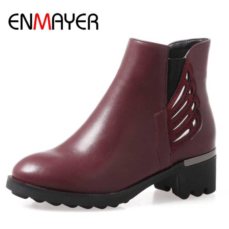 ENMAYER Short Boots Shoes Woman Plus Size 34-43 Ankle Boots for Women Square Heels Round Toe Western Boots Winter Shoes enmayla ankle boots for women low heels autumn and winter boots shoes woman large size 34 43 round toe motorcycle boots
