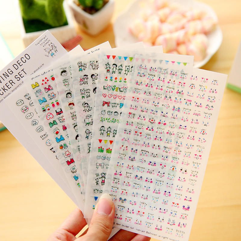 6 Pcs / Pack, South Korea Creative Graffiti The First Quarter Series Of Cute Transparent Sticker Set Diary Stickers Memo Pad