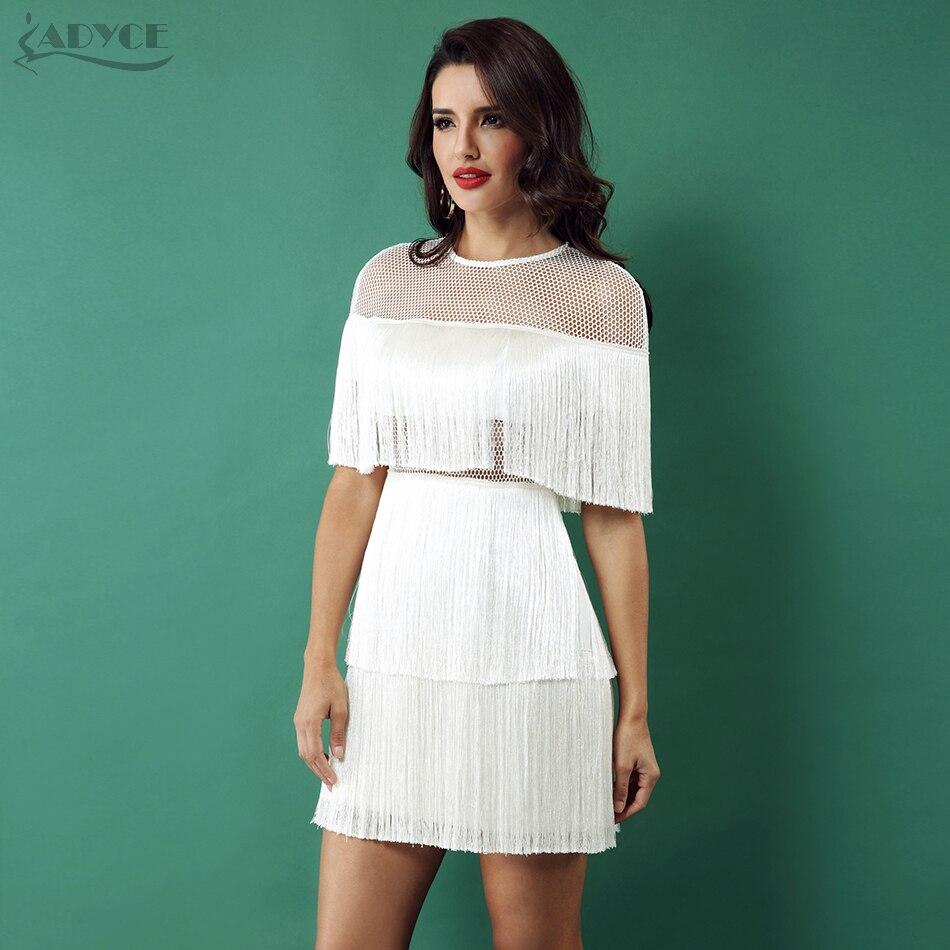 Adyce для женщин летние платья Белый Черный кисточкой бахрома Vestidos Verano 2019 Мини без спинки модное Вечеринка платье Клубная одежда