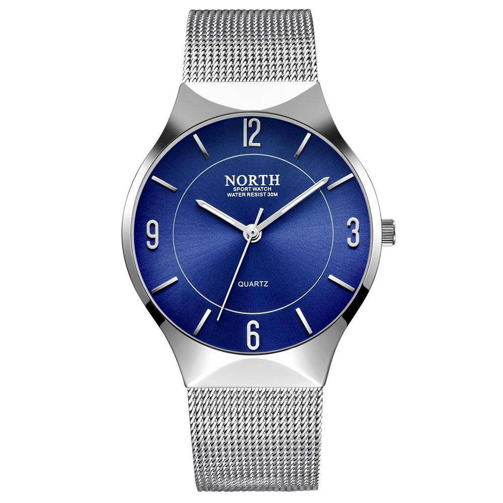 Luxury North Brand Watch Men Blue Silver Stainless Steel Casual Men's Wristwatch Simple Minimalism Thin Slim Dial Male Clock stainless steel cuticle removal shovel tool silver
