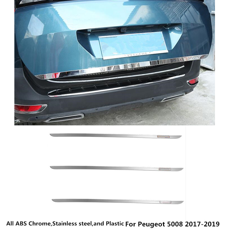 For Peugeot 5008 2017 2018 2019 car styling body panel Stainless Steel Rear back door trunk