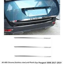 Для Peugeot 5008 2017 2018 2019 Тюнинг автомобилей панели кузова Нержавеющаясталь задняя дверь багажника задней Рама плиты отделкой лампы 1 шт.