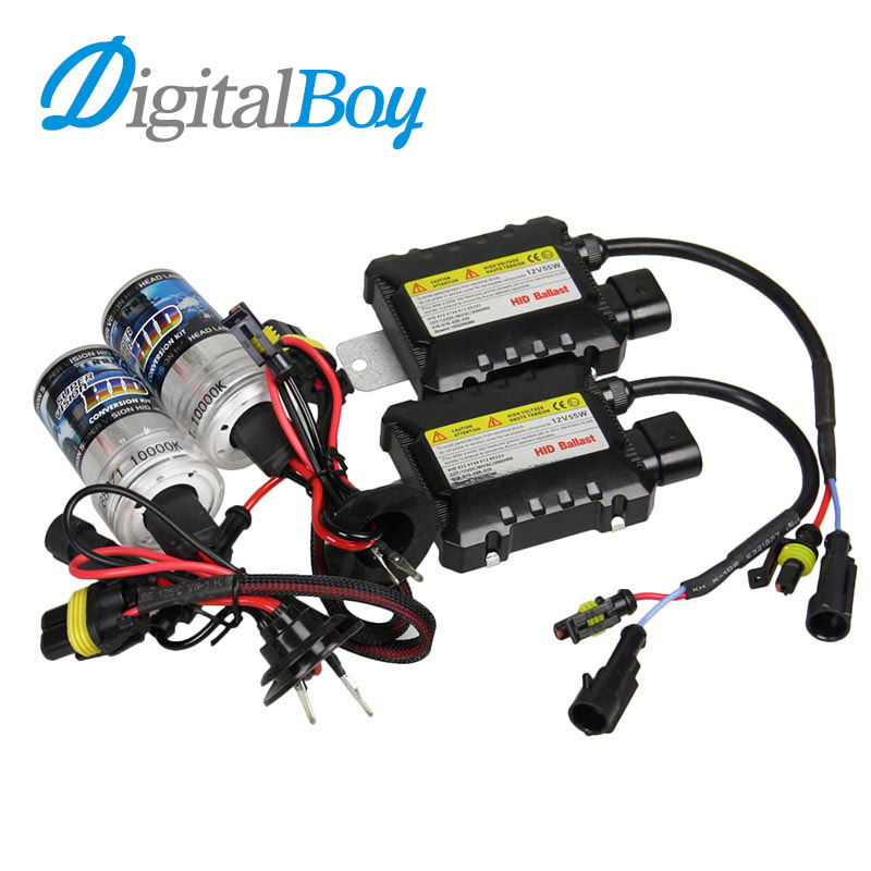 DIGITALBOY Slim Ballast Block 12V 55W Xenon HID Bulb Kit 880 881 Auto Car Headlight Lamp Super Bright Light Source 6000k 8000k 55 wsilver hid xenon kit slim ballast h11 8000k replacement headlight spare bulb [cpa226]