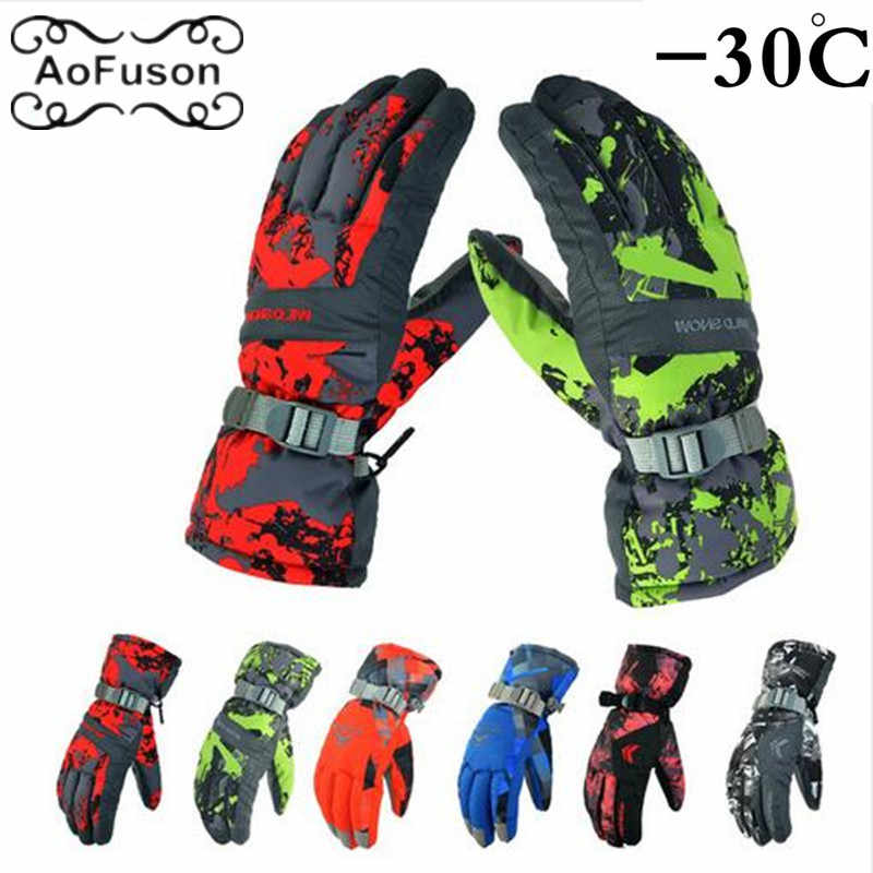 Snowboard Ski Gloves Winter Snow Keep Warm Unisex Waterproof Anti-Cold Thicker Riding Skiing Motorcycle Cycling Gloves Luvas