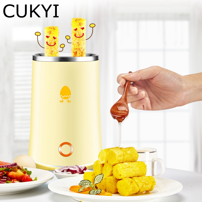 CUKYI 140W Household Electric Automatic rising double Egg Roll Maker Cooking Tool Egg Cup Omelette Master Sausage Machine Yellow cukyi automatic roll maker electric egg boiler cup omelette breakfast maker non stick kitchen cooking tool 220v heat separately