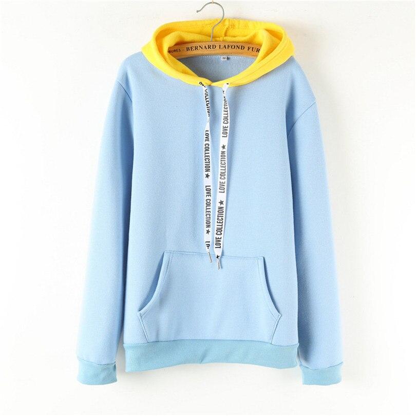 Blue Yellow Patchwork Hoodies Women Cute Smock Hooded Sweatshirt New Fall Winter Pocket Drawstring Hoody Female Swissott