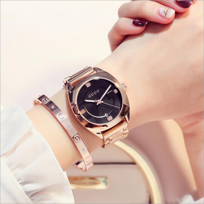 GUOU Watches Women Luxury Steel Bracelet Auto Date Women's Watch Fashion Exquisite Ladies saat relogio feminino reloj mujer guou fashion bracelet women watches luxury brand ladies quartz wrist watch relogio feminino reloj mujer clock saat hodinky