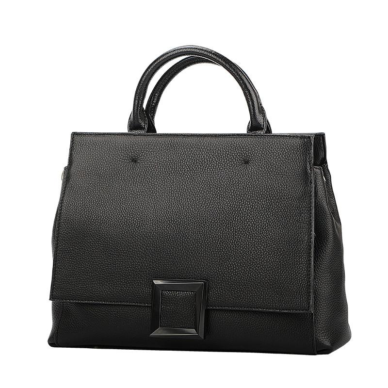 Qiwang Real Leather Black Bag Fashion 2019 Green Leather Hand Bag 100 Genuine Leather Handbag Women