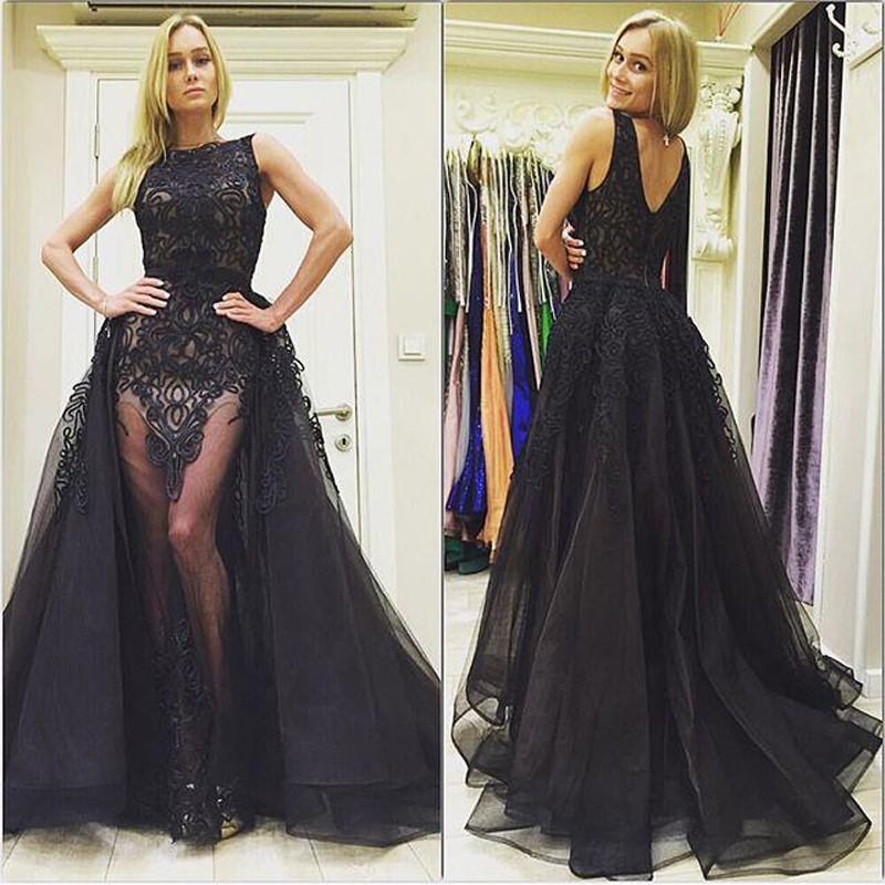 Prom Dress With Detachable Train: Sexy Black Lace A Line Prom Dresses See Through Tulle