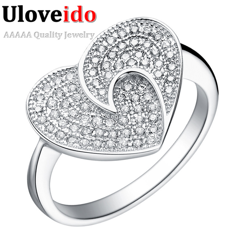 Silver Heart Ring Crystal Jewelry Rings for Couples Fashion Weddling Jewellery Accessories Gift for Girl 2016 Vintage Amour J066