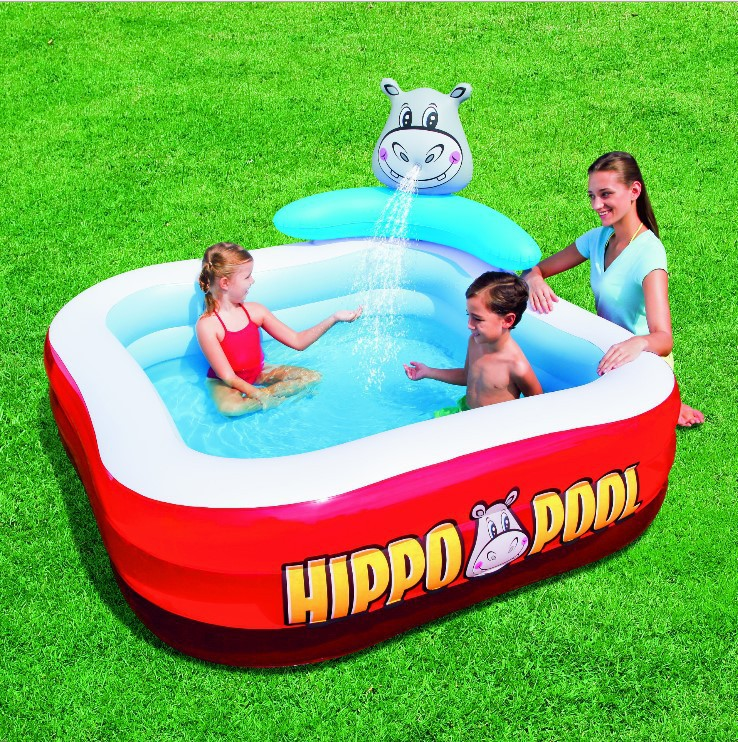 VILEAD Hippo Water Fountain Baby Bath Play Pool Ball Pool Family Swimming Pool Summer Pool  Baby Entertainment 192 150 88 lovely baby play pool inflatable marine ball water pool infants thickening fishing swimming pool zwembad a102