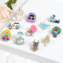 Sea Insect beetle pin tree house Vintage Phonograph Electrombile brooch Little elephant Antarctic iceberg for friend gift
