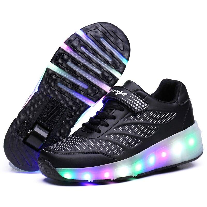 Детские светящиеся кроссовки; кроссовки с колесами; Светодиодный светильник; роликовые коньки; Спортивный светящийся светильник; обувь для детей; обувь для мальчиков; цвет розовый, синий, черный