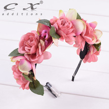 Rose Flower Crown Floral Headwrap Hairband Headband Wreath Wedding Hair Accessories Butterfly Orchid Photography Woman