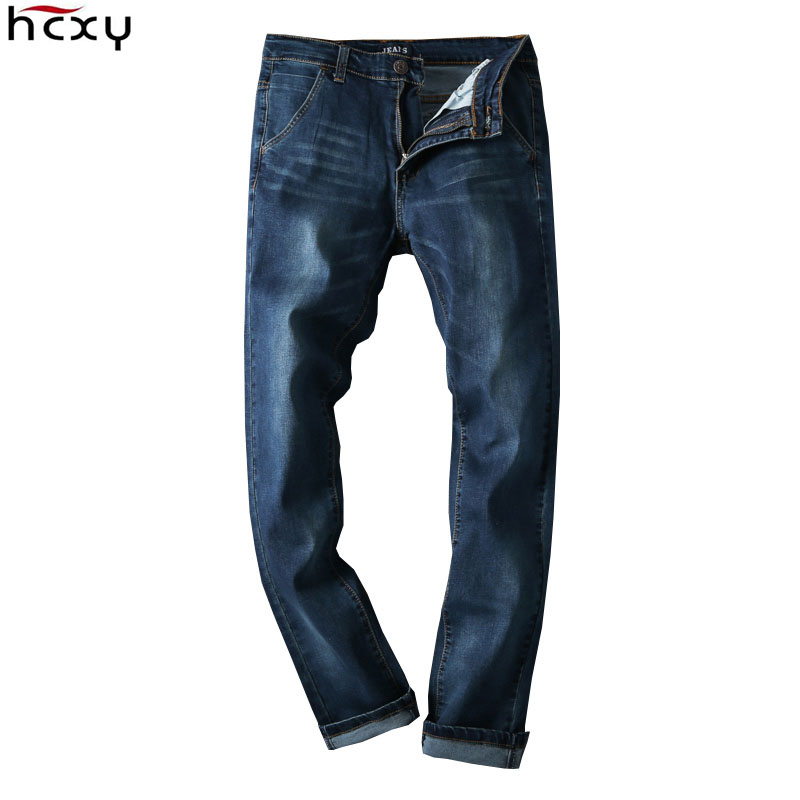 HCXY Zipper Overalls Men's Jeans Trousers Blue Big Size 48 Straight Famous Brand Jeans Men Denim Pants Stretch 2016 New Autumn 2014 new fashion reminisced men vintage trousers casual jeans wash capris pants loose plus size overalls zipper denim jumpsuit