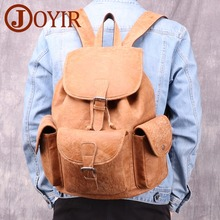 JOYIR Vintage Women Backpack For Men School Bags Fashion Backpacks Genuine Leather Drawstring Large BagPack Travel Bag