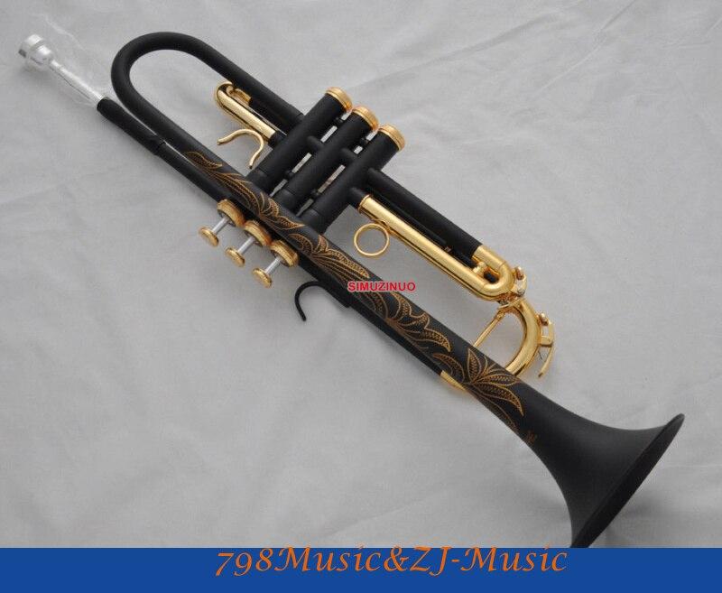 Professional  Matt Black Nickel Gold Plated Bb Trumpet Horn Monel Valve Engraving+Case