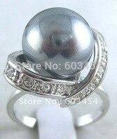 送料無料>>>@@卸売シルバークリスタル女性グレーシェル真珠のリング婚約リングサイズ: 7.8.9/フリー石坪1ピー