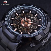 Forsining Sport Racing Series de Acero Inoxidable Negro Dial De Oro Skeleton Relojes Automático de Los Hombres de Primeras Marcas de Lujo Reloj Reloj de Los Hombres