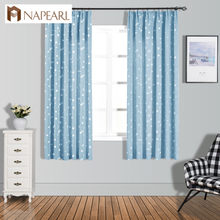 NAPEARL Short Curtains Stars Jacquard Drops for Bedroom Windows Kitchen Semi Shade Drapery Thread Fabric Tape Ready Made Elegant(China)