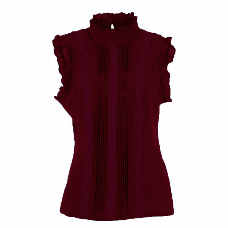 Women Ruffle Stand Collar Slim T-Shirt Tops Lady Casual Lace Sleeveless Shirt Ladies Tee Green/White chiffon 4