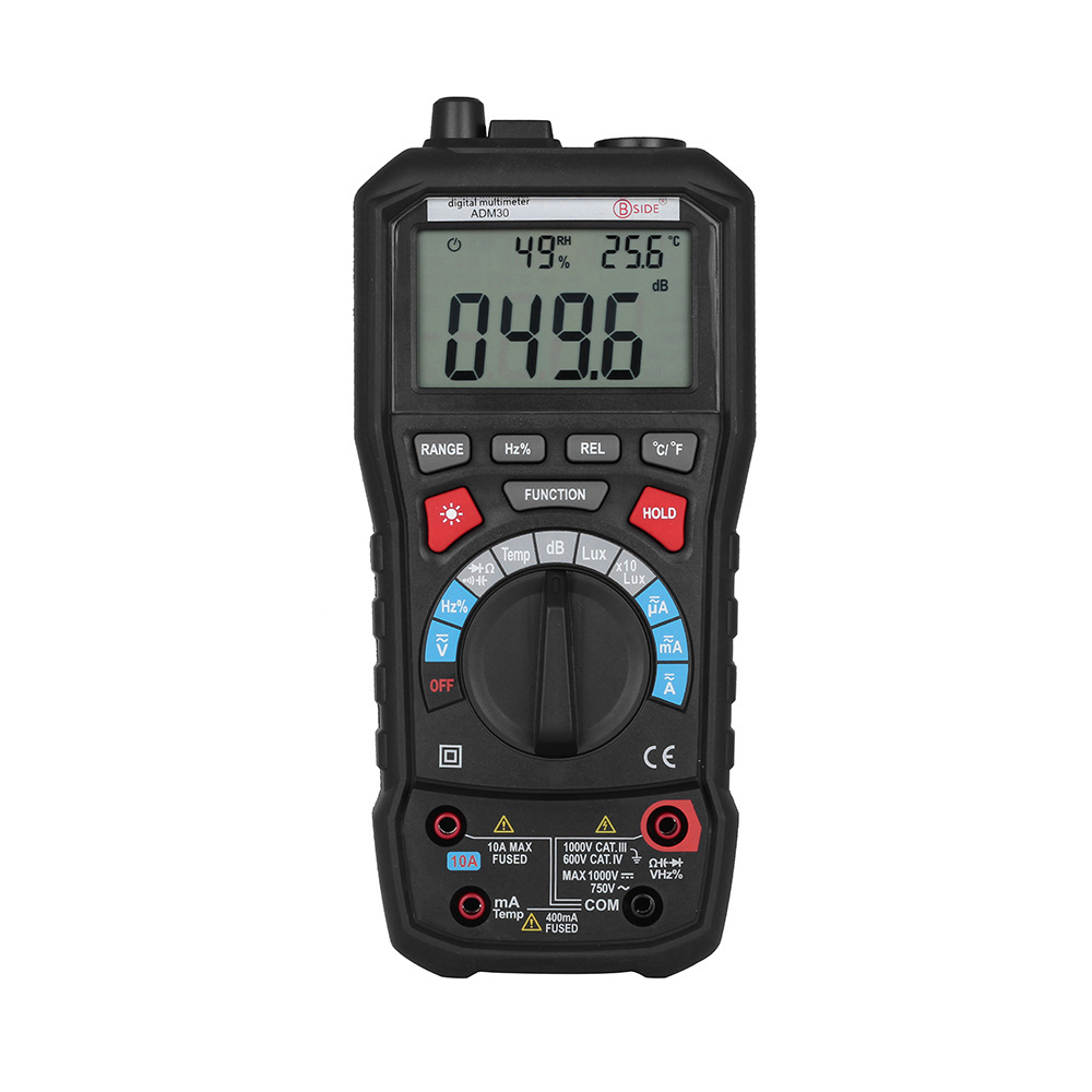 BSIDE ADM30 Digital Multimeter Temperature / Lux / Humidity Measurer Capacitance Test Ammeter Voltmeter Portable Voltage Meter f47n multimeter pointer mechanical capacitance meter ammeter voltmeter pocket
