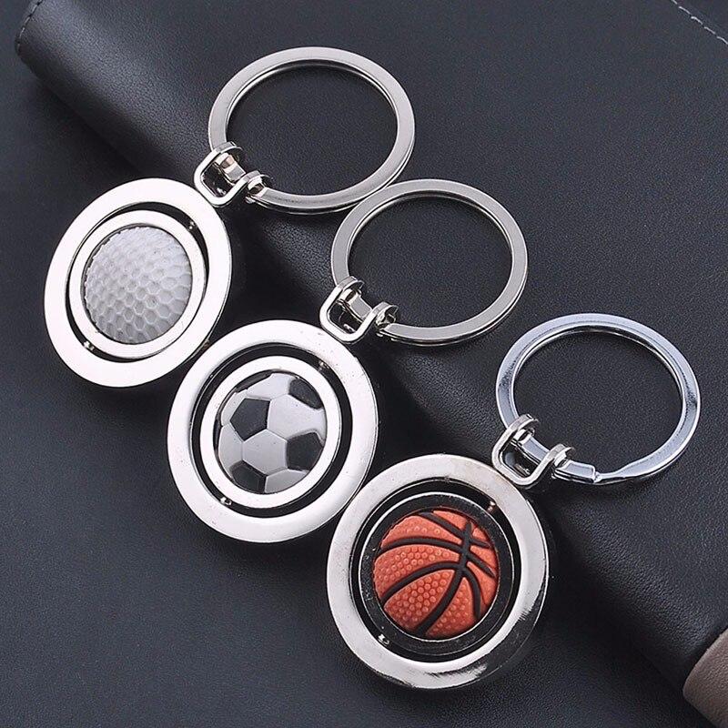 3D Rotating Sports Football Basketball Football Golf Keychain Keychain Ring Keyring Men Keychain